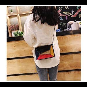 Handbags - PU Leather Colorblock Crossbody Chain Strap Bag